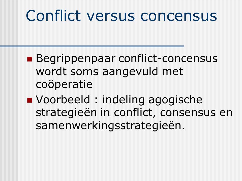 Conflict versus concensus Begrippenpaar conflict-concensus wordt soms aangevuld met coöperatie Voorbeeld : indeling agogische strategieën in conflict, consensus en samenwerkingsstrategieën.