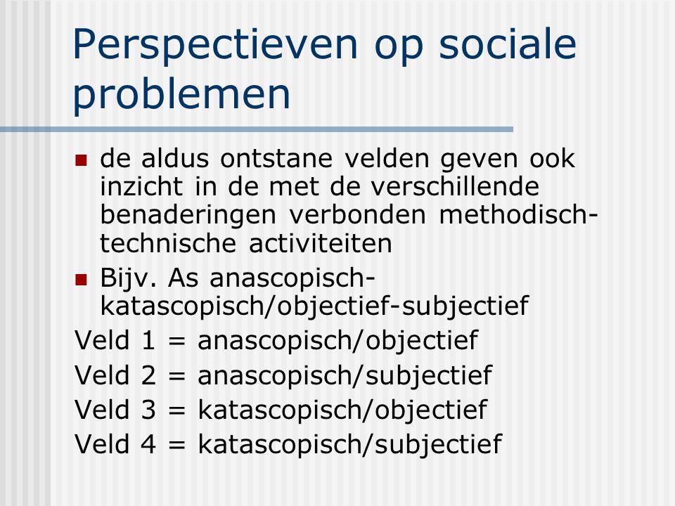 Perspectieven op sociale problemen de aldus ontstane velden geven ook inzicht in de met de verschillende benaderingen verbonden methodisch- technische activiteiten Bijv.