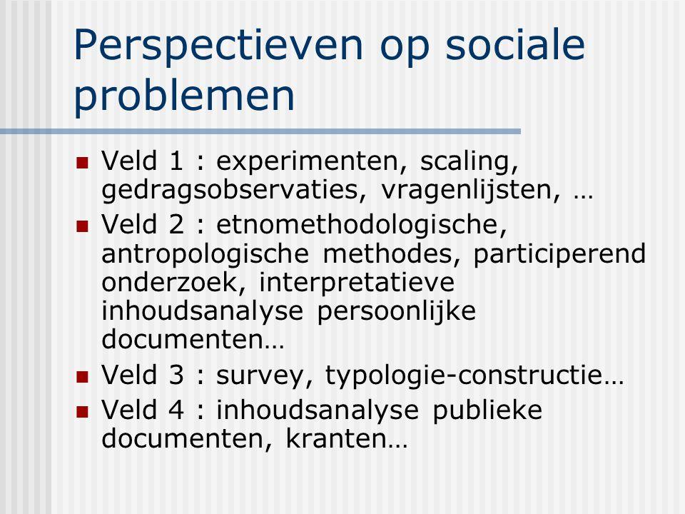Perspectieven op sociale problemen Veld 1 : experimenten, scaling, gedragsobservaties, vragenlijsten, … Veld 2 : etnomethodologische, antropologische