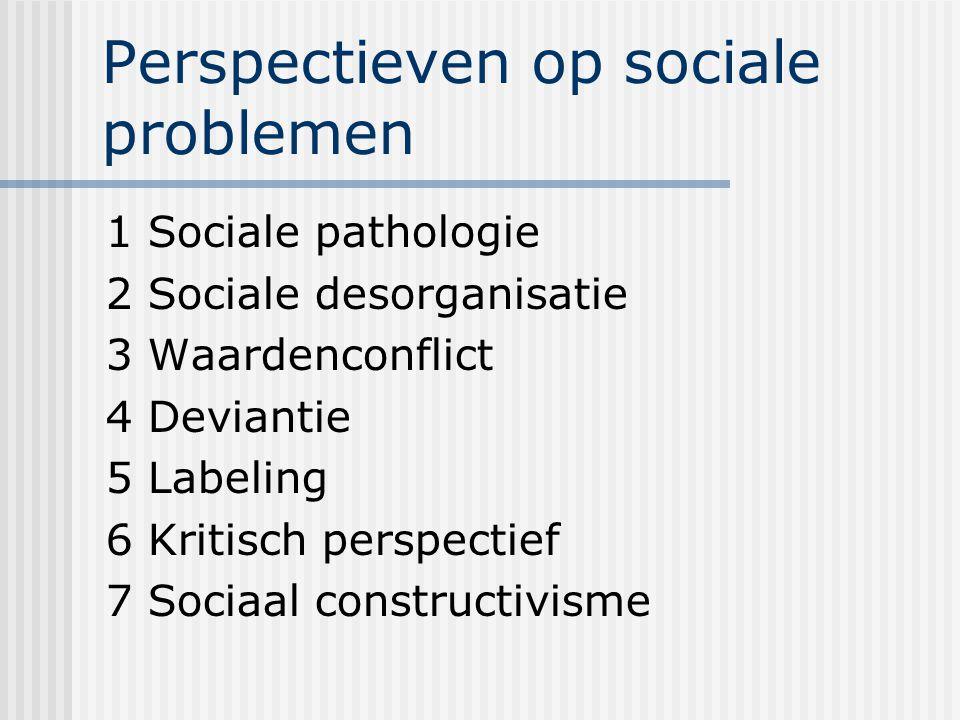 Perspectieven op sociale problemen 1 Sociale pathologie 2 Sociale desorganisatie 3 Waardenconflict 4 Deviantie 5 Labeling 6 Kritisch perspectief 7 Sociaal constructivisme