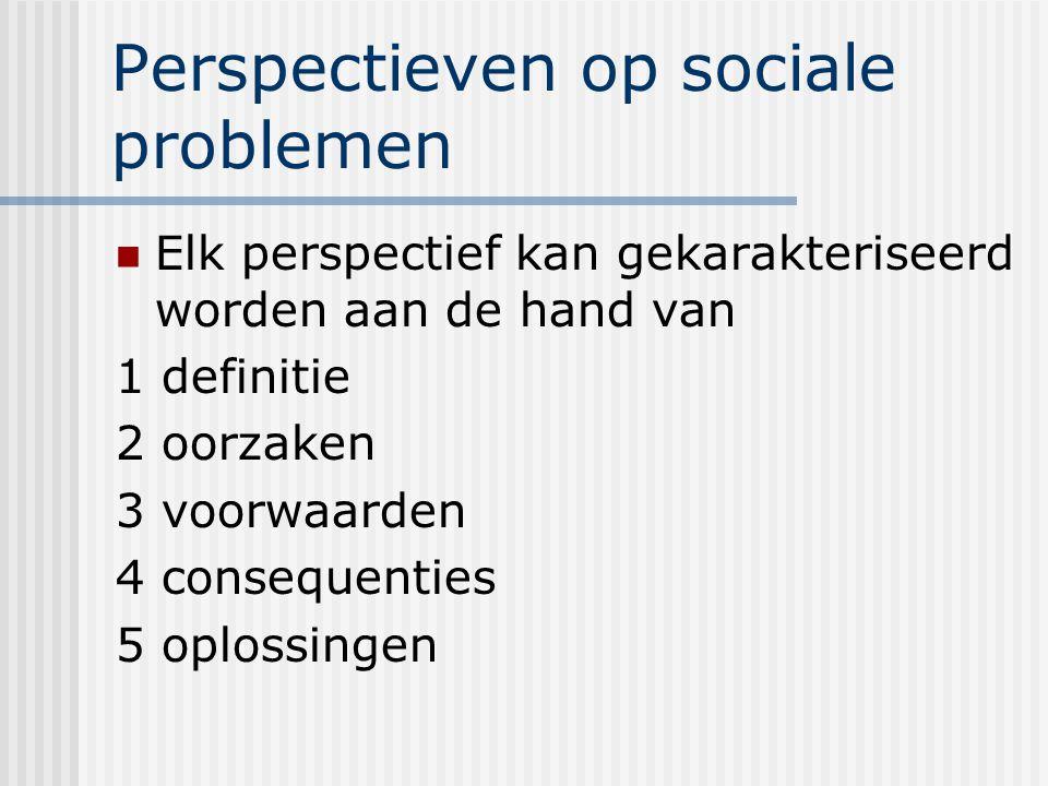 Perspectieven op sociale problemen Elk perspectief kan gekarakteriseerd worden aan de hand van 1 definitie 2 oorzaken 3 voorwaarden 4 consequenties 5 oplossingen