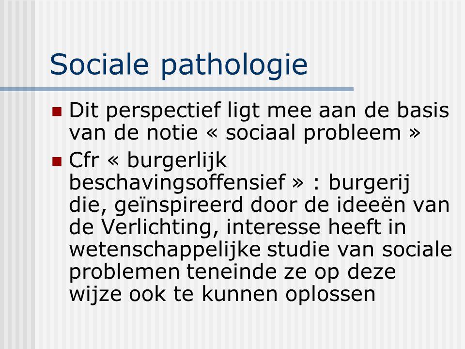 Sociale pathologie Dit perspectief ligt mee aan de basis van de notie « sociaal probleem » Cfr « burgerlijk beschavingsoffensief » : burgerij die, geï