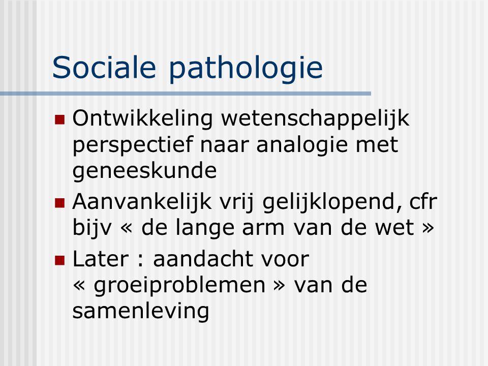 Sociale pathologie Ontwikkeling wetenschappelijk perspectief naar analogie met geneeskunde Aanvankelijk vrij gelijklopend, cfr bijv « de lange arm van de wet » Later : aandacht voor « groeiproblemen » van de samenleving