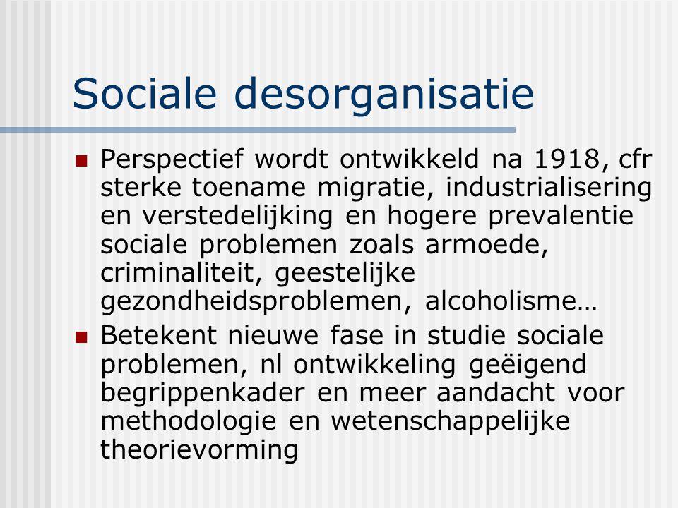 Sociale desorganisatie Perspectief wordt ontwikkeld na 1918, cfr sterke toename migratie, industrialisering en verstedelijking en hogere prevalentie s