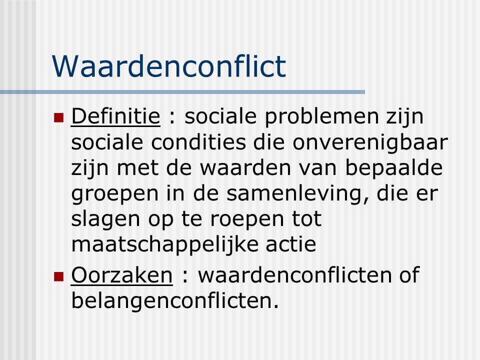Waardenconflict Definitie : sociale problemen zijn sociale condities die onverenigbaar zijn met de waarden van bepaalde groepen in de samenleving, die er slagen op te roepen tot maatschappelijke actie Oorzaken : waardenconflicten of belangenconflicten.