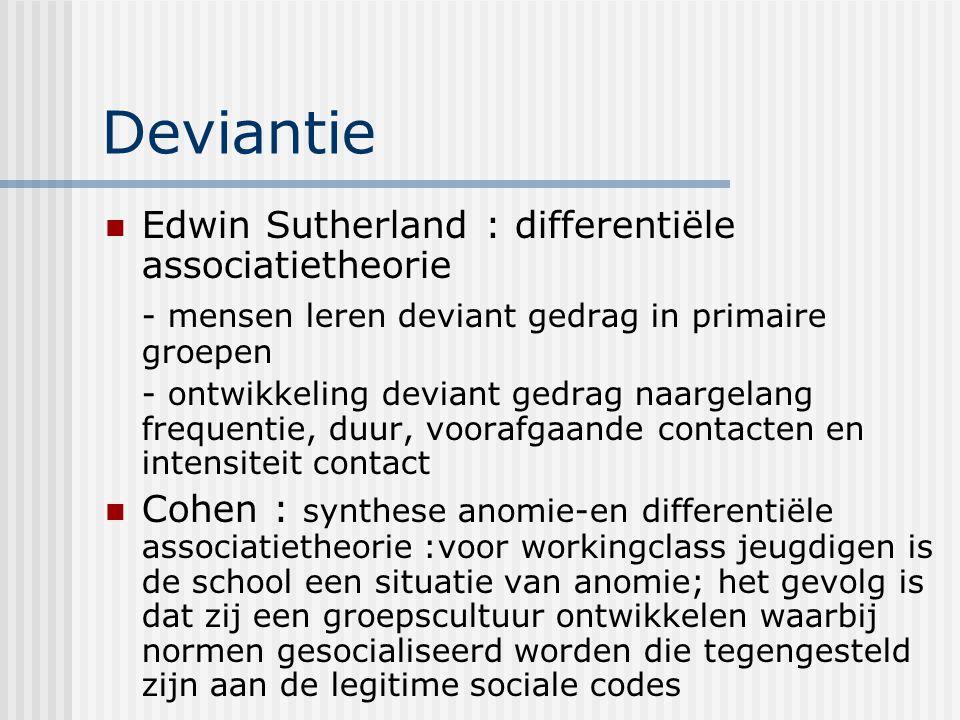 Deviantie Edwin Sutherland : differentiële associatietheorie - mensen leren deviant gedrag in primaire groepen - ontwikkeling deviant gedrag naargelan