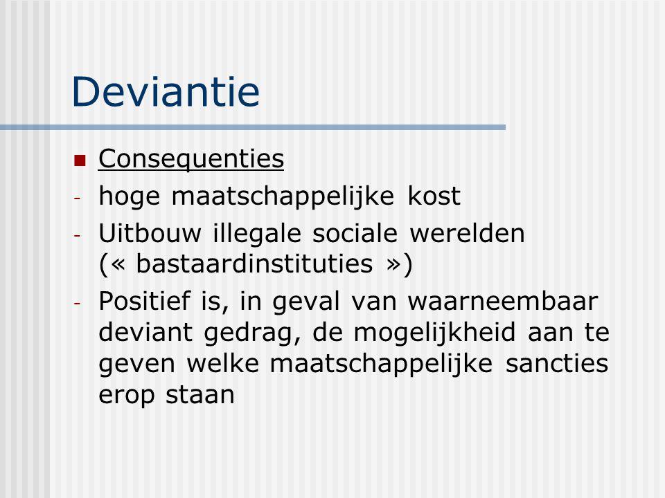 Deviantie Consequenties - hoge maatschappelijke kost - Uitbouw illegale sociale werelden (« bastaardinstituties ») - Positief is, in geval van waarneembaar deviant gedrag, de mogelijkheid aan te geven welke maatschappelijke sancties erop staan