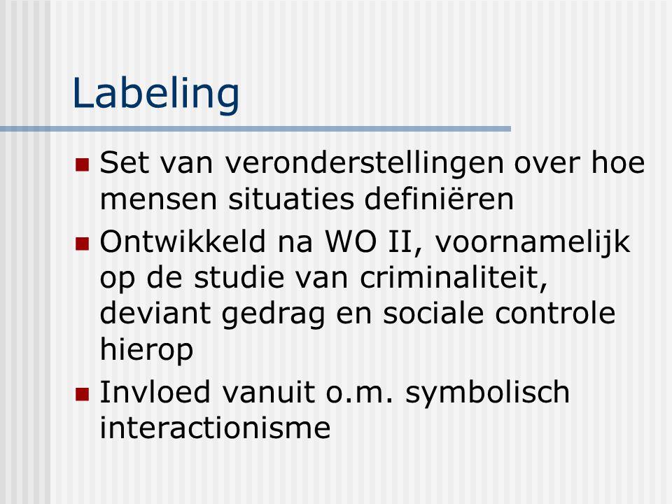 Labeling Set van veronderstellingen over hoe mensen situaties definiëren Ontwikkeld na WO II, voornamelijk op de studie van criminaliteit, deviant gedrag en sociale controle hierop Invloed vanuit o.m.
