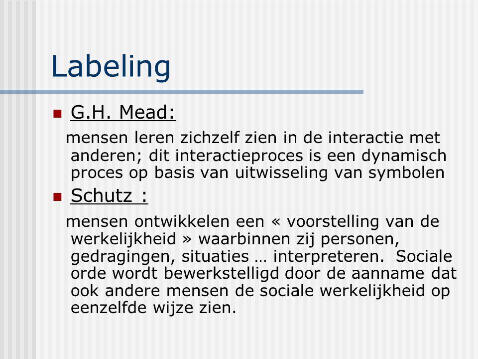 Labeling G.H. Mead: mensen leren zichzelf zien in de interactie met anderen; dit interactieproces is een dynamisch proces op basis van uitwisseling va