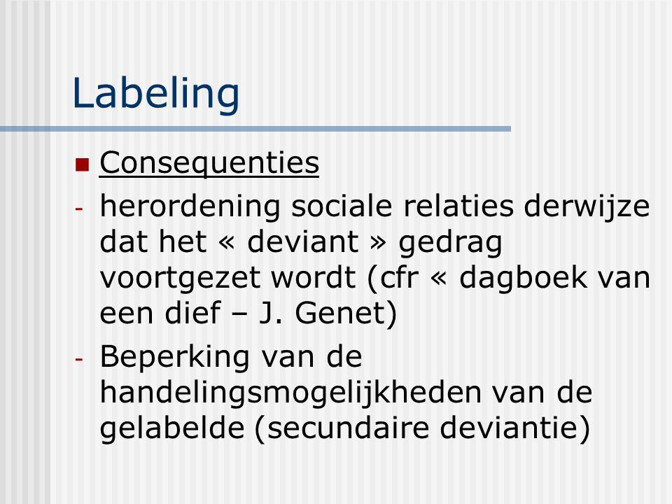 Labeling Consequenties - herordening sociale relaties derwijze dat het « deviant » gedrag voortgezet wordt (cfr « dagboek van een dief – J. Genet) - B