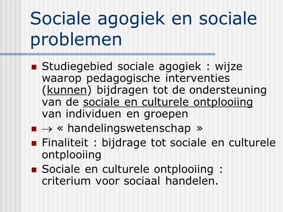 Sociale agogiek en sociale problemen Studiegebied sociale agogiek : wijze waarop pedagogische interventies (kunnen) bijdragen tot de ondersteuning van