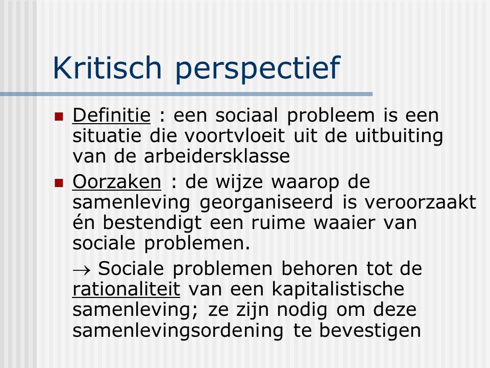 Kritisch perspectief Definitie : een sociaal probleem is een situatie die voortvloeit uit de uitbuiting van de arbeidersklasse Oorzaken : de wijze waarop de samenleving georganiseerd is veroorzaakt én bestendigt een ruime waaier van sociale problemen.