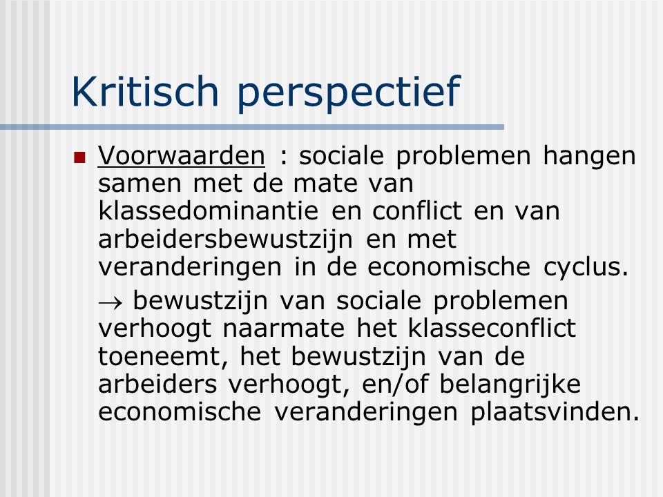 Kritisch perspectief Voorwaarden : sociale problemen hangen samen met de mate van klassedominantie en conflict en van arbeidersbewustzijn en met veranderingen in de economische cyclus.
