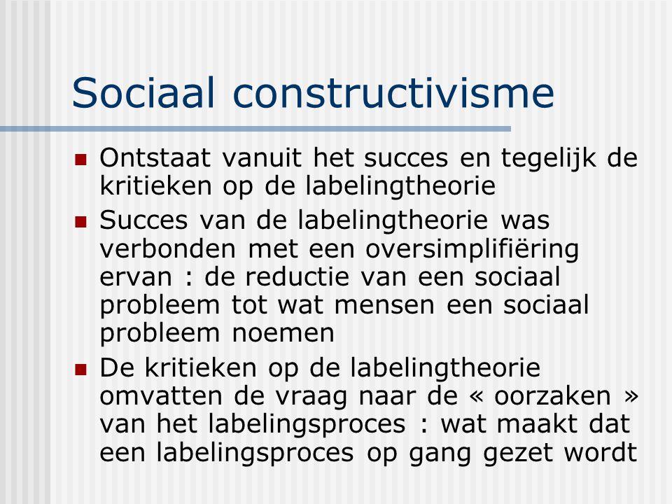Sociaal constructivisme Ontstaat vanuit het succes en tegelijk de kritieken op de labelingtheorie Succes van de labelingtheorie was verbonden met een