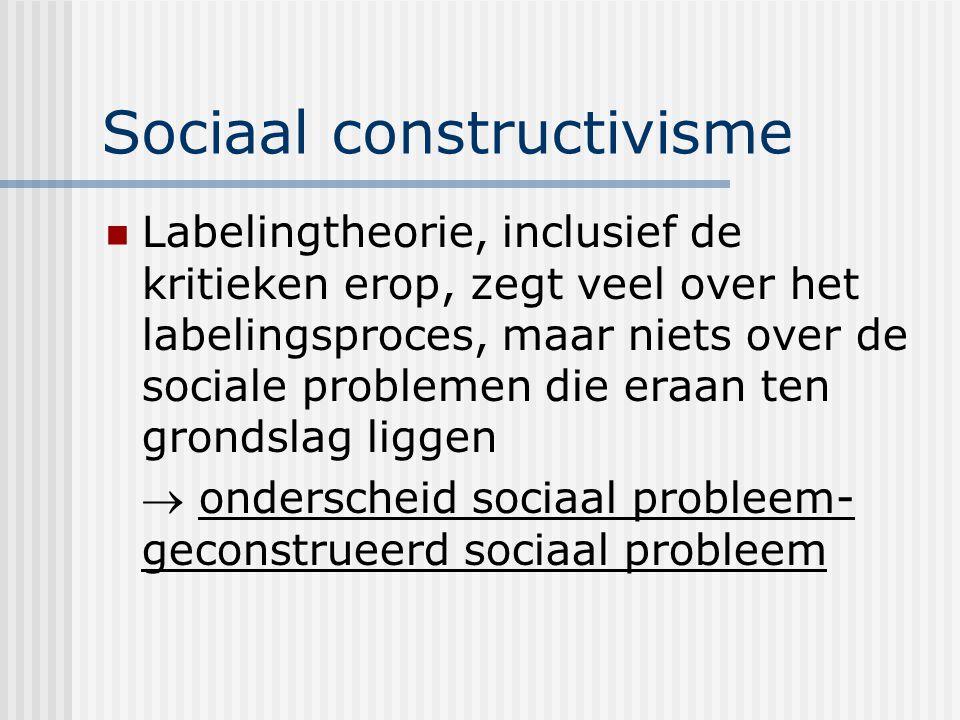 Sociaal constructivisme Labelingtheorie, inclusief de kritieken erop, zegt veel over het labelingsproces, maar niets over de sociale problemen die eraan ten grondslag liggen  onderscheid sociaal probleem- geconstrueerd sociaal probleem