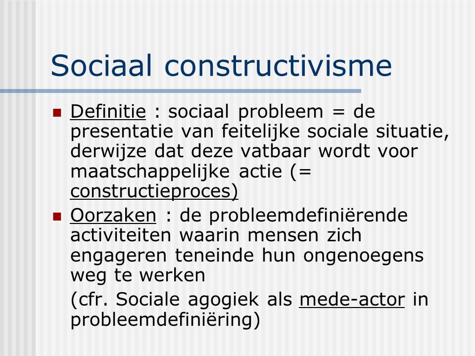 Sociaal constructivisme Definitie : sociaal probleem = de presentatie van feitelijke sociale situatie, derwijze dat deze vatbaar wordt voor maatschappelijke actie (= constructieproces) Oorzaken : de probleemdefiniërende activiteiten waarin mensen zich engageren teneinde hun ongenoegens weg te werken (cfr.