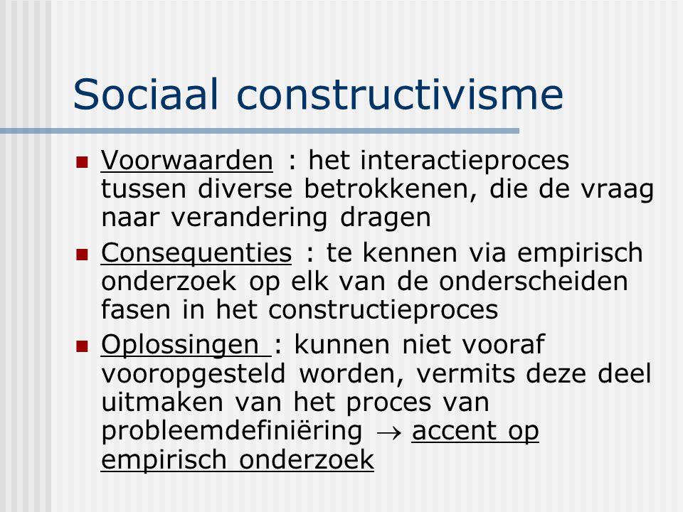 Sociaal constructivisme Voorwaarden : het interactieproces tussen diverse betrokkenen, die de vraag naar verandering dragen Consequenties : te kennen via empirisch onderzoek op elk van de onderscheiden fasen in het constructieproces Oplossingen : kunnen niet vooraf vooropgesteld worden, vermits deze deel uitmaken van het proces van probleemdefiniëring  accent op empirisch onderzoek