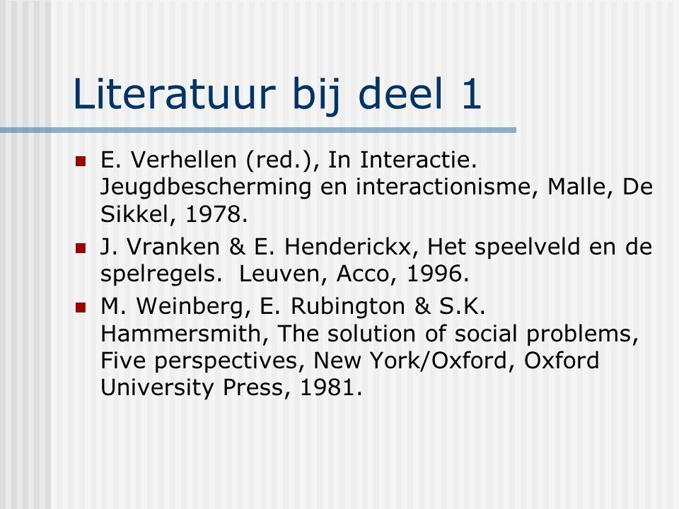 Literatuur bij deel 1 E. Verhellen (red.), In Interactie. Jeugdbescherming en interactionisme, Malle, De Sikkel, 1978. J. Vranken & E. Henderickx, Het