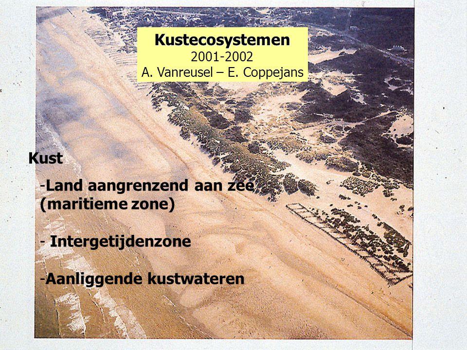 Kustecosystemen 2001-2002 A. Vanreusel – E. Coppejans Kust -Land aangrenzend aan zee (maritieme zone) - Intergetijdenzone -Aanliggende kustwateren