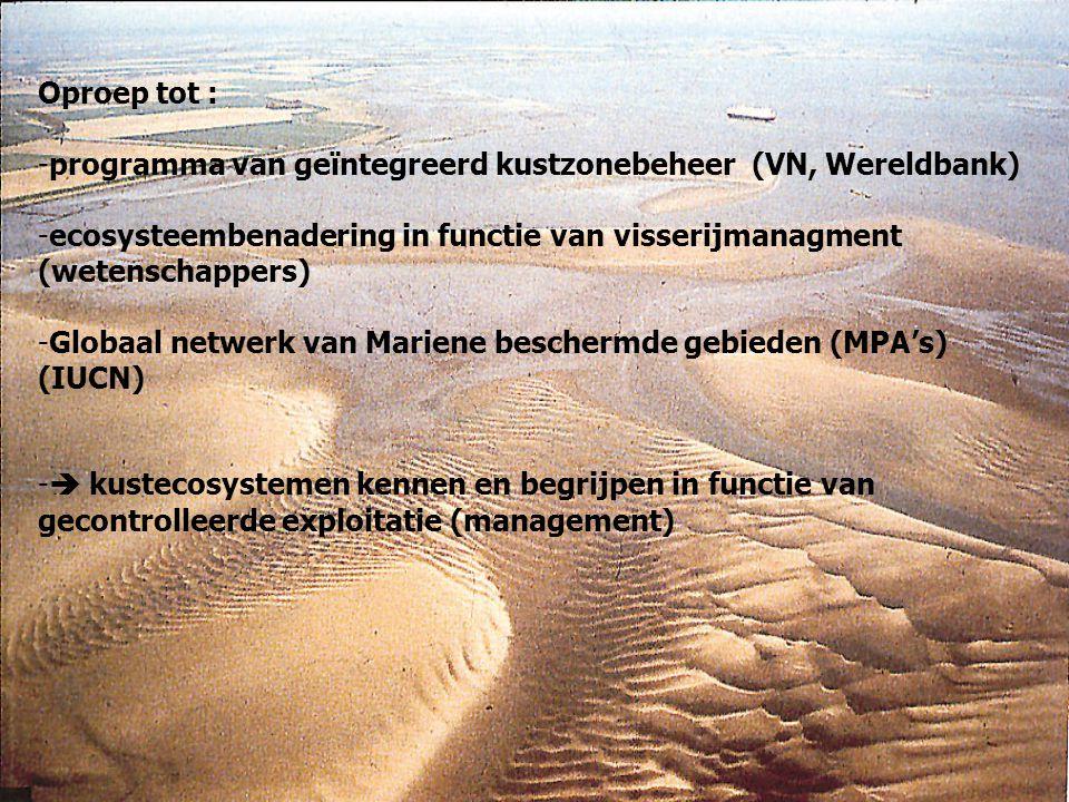 Oproep tot : -programma van geïntegreerd kustzonebeheer (VN, Wereldbank) -ecosysteembenadering in functie van visserijmanagment (wetenschappers) -Glob