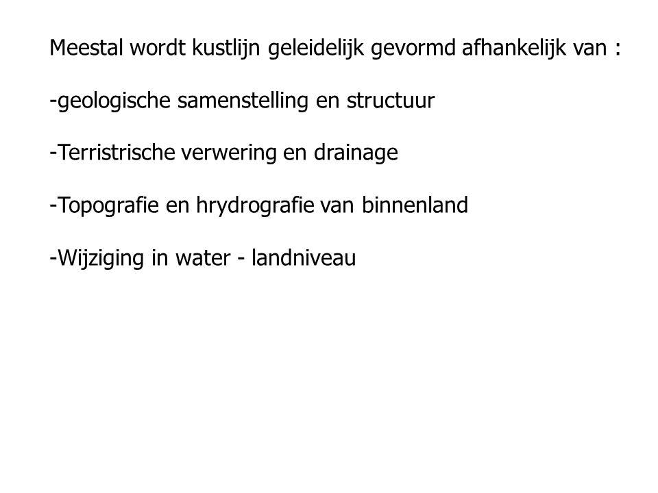 Meestal wordt kustlijn geleidelijk gevormd afhankelijk van : -geologische samenstelling en structuur -Terristrische verwering en drainage -Topografie