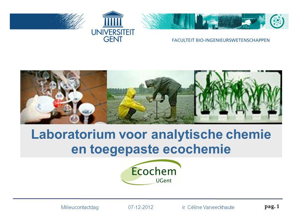 Milieucontactdag 07-12-2012 ir. Céline Vaneeckhaute Laboratorium voor analytische chemie en toegepaste ecochemie pag. 1