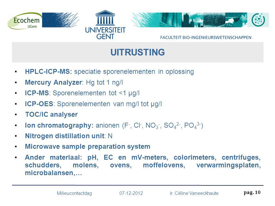 HPLC-ICP-MS: speciatie sporenelementen in oplossing Mercury Analyzer: Hg tot 1 ng/l ICP-MS: Sporenelementen tot <1 µg/l ICP-OES: Sporenelementen van m