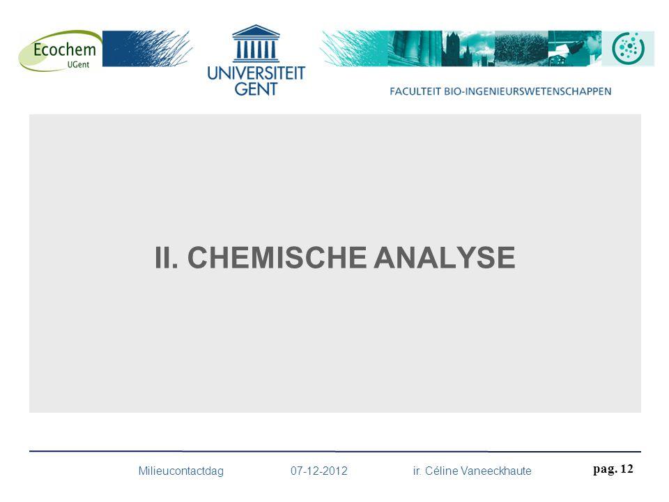 II. CHEMISCHE ANALYSE Milieucontactdag 07-12-2012 ir. Céline Vaneeckhaute pag. 12