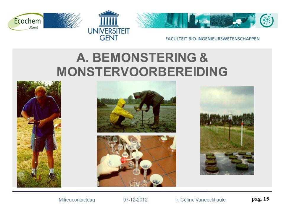 A. BEMONSTERING & MONSTERVOORBEREIDING Milieucontactdag 07-12-2012 ir. Céline Vaneeckhaute pag. 15