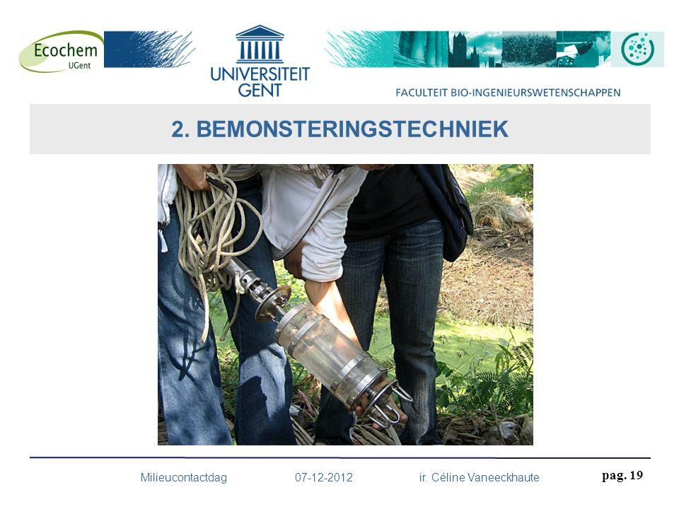 2. BEMONSTERINGSTECHNIEK Milieucontactdag 07-12-2012 ir. Céline Vaneeckhaute pag. 19