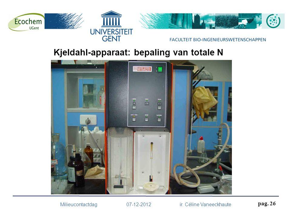 Milieucontactdag 07-12-2012 ir. Céline Vaneeckhaute pag. 26 Kjeldahl-apparaat: bepaling van totale N