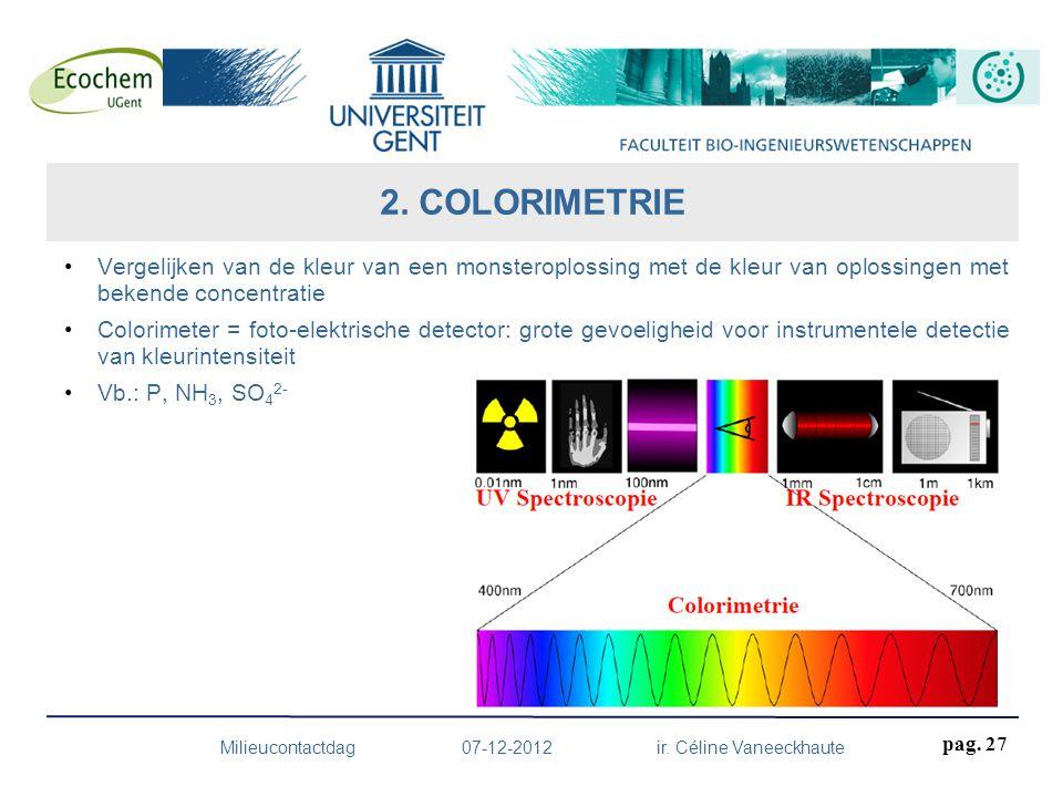 Vergelijken van de kleur van een monsteroplossing met de kleur van oplossingen met bekende concentratie Colorimeter = foto-elektrische detector: grote