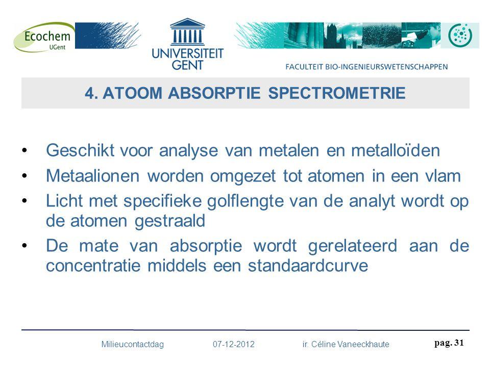 Geschikt voor analyse van metalen en metalloïden Metaalionen worden omgezet tot atomen in een vlam Licht met specifieke golflengte van de analyt wordt
