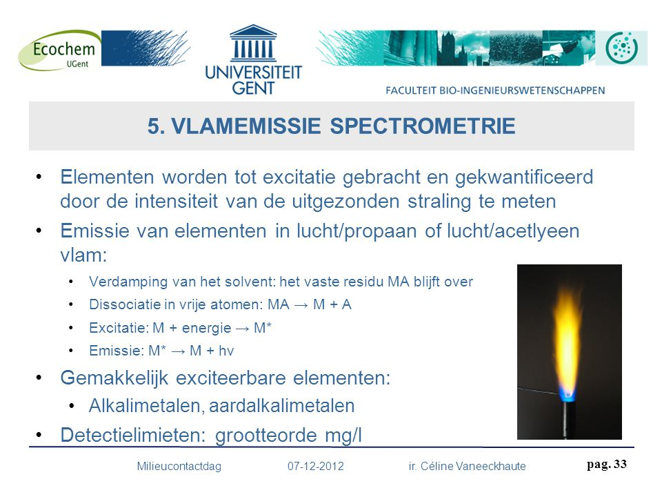 Elementen worden tot excitatie gebracht en gekwantificeerd door de intensiteit van de uitgezonden straling te meten Emissie van elementen in lucht/pro