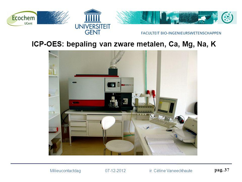 Milieucontactdag 07-12-2012 ir. Céline Vaneeckhaute pag. 37 ICP-OES: bepaling van zware metalen, Ca, Mg, Na, K
