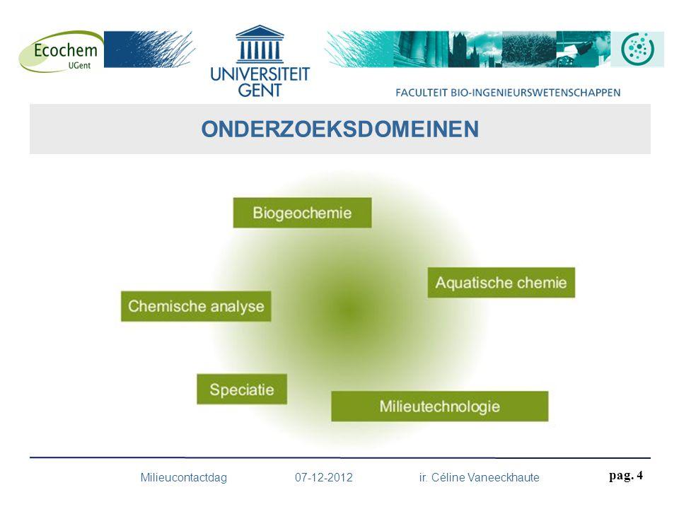 ONDERZOEKSDOMEINEN Milieucontactdag 07-12-2012 ir. Céline Vaneeckhaute pag. 4