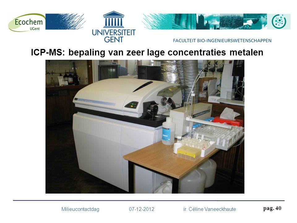 Milieucontactdag 07-12-2012 ir. Céline Vaneeckhaute pag. 40 ICP-MS: bepaling van zeer lage concentraties metalen