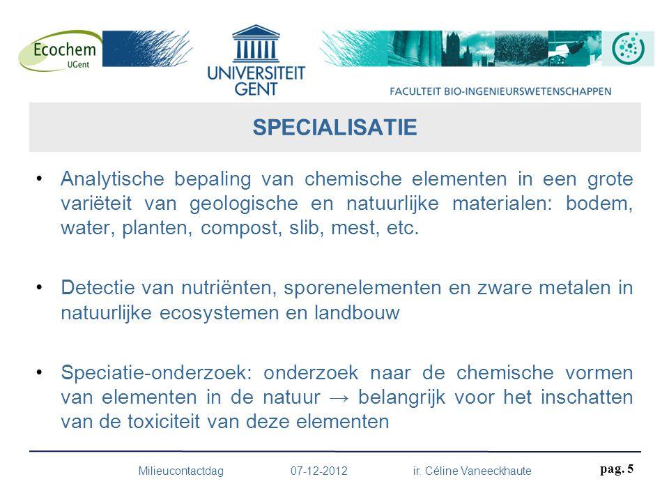 Analytische bepaling van chemische elementen in een grote variëteit van geologische en natuurlijke materialen: bodem, water, planten, compost, slib, m