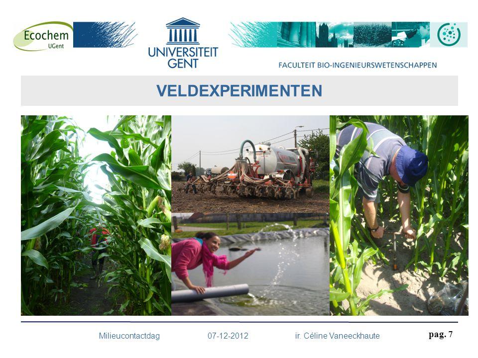 pag. 7 VELDEXPERIMENTEN Milieucontactdag 07-12-2012 ir. Céline Vaneeckhaute