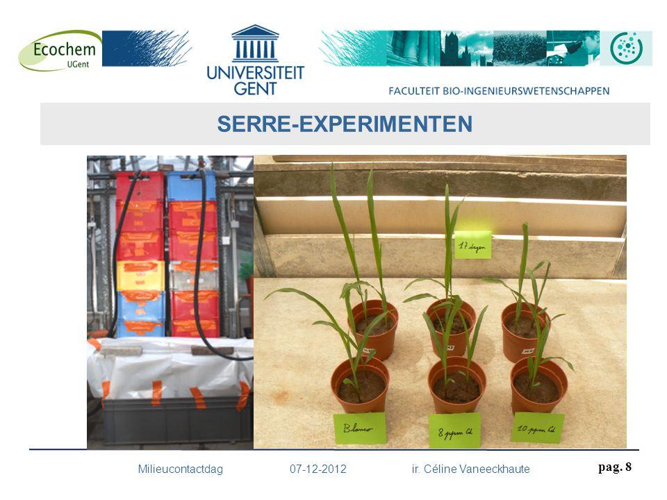 pag. 8 Milieucontactdag 07-12-2012 ir. Céline Vaneeckhaute SERRE-EXPERIMENTEN