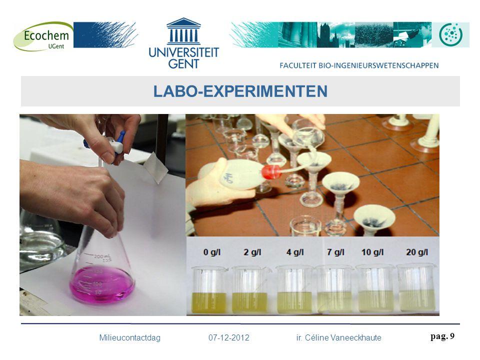 HPLC-ICP-MS: speciatie sporenelementen in oplossing Mercury Analyzer: Hg tot 1 ng/l ICP-MS: Sporenelementen tot <1 µg/l ICP-OES: Sporenelementen van mg/l tot µg/l TOC/IC analyser Ion chromatography: anionen (F -, Cl -, NO 3 -, SO 4 2-, PO 4 3- ) Nitrogen distillation unit: N Microwave sample preparation system Ander materiaal: pH, EC en mV-meters, colorimeters, centrifuges, schudders, molens, ovens, moffelovens, verwarmingsplaten, microbalansen,… UITRUSTING Milieucontactdag 07-12-2012 ir.