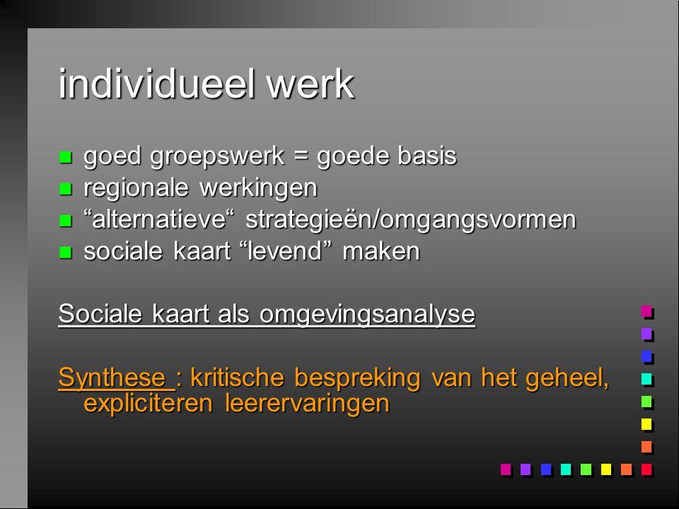 """individueel werk n goed groepswerk = goede basis n regionale werkingen n """"alternatieve"""" strategieën/omgangsvormen n sociale kaart """"levend"""" maken Socia"""