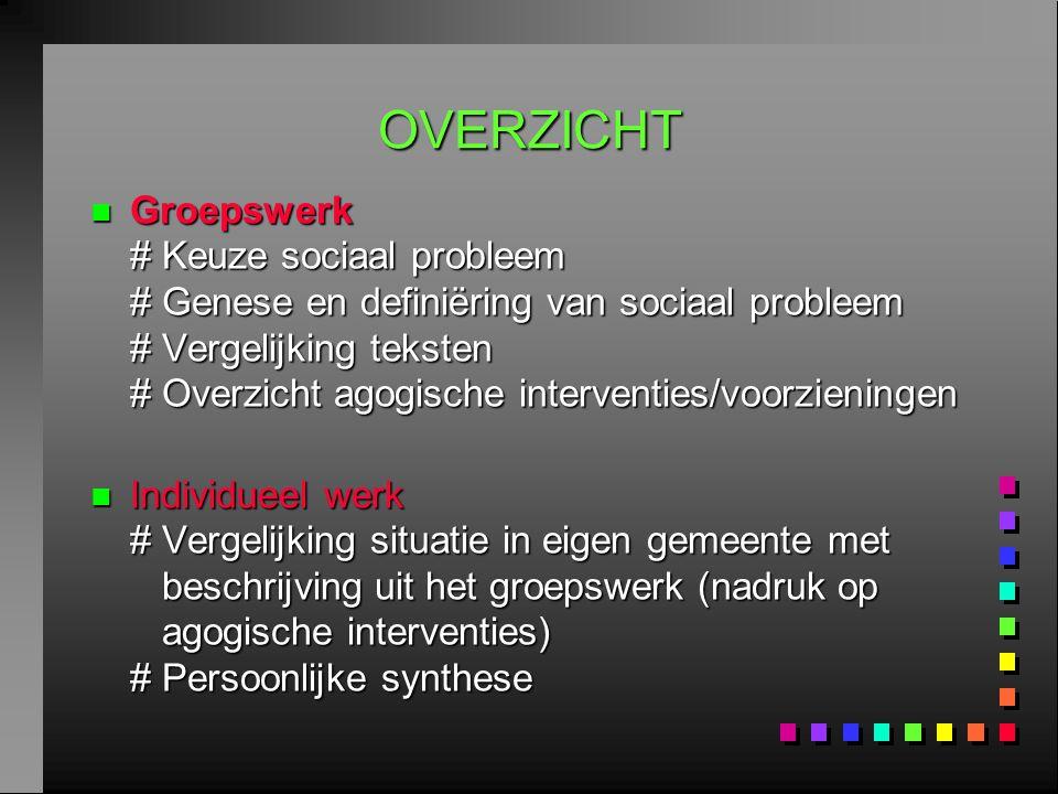 OVERZICHT n Groepswerk # Keuze sociaal probleem # Genese en definiëring van sociaal probleem # Vergelijking teksten # Overzicht agogische interventies
