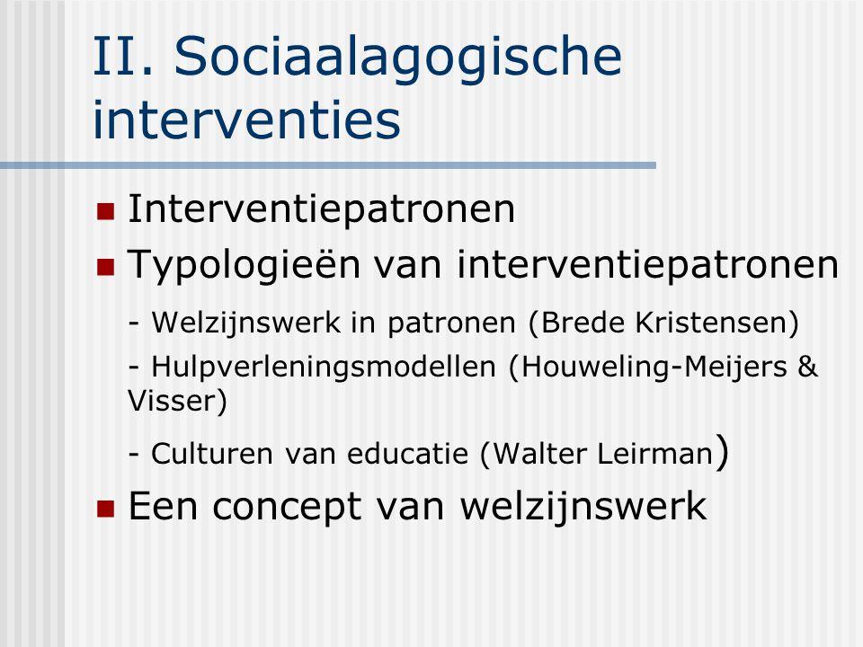 II. Sociaalagogische interventies Interventiepatronen Typologieën van interventiepatronen - Welzijnswerk in patronen (Brede Kristensen) - Hulpverlenin