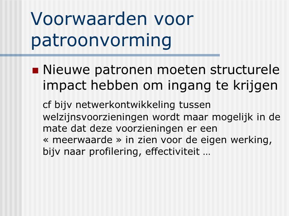 Voorwaarden voor patroonvorming Nieuwe patronen moeten structurele impact hebben om ingang te krijgen cf bijv netwerkontwikkeling tussen welzijnsvoorz
