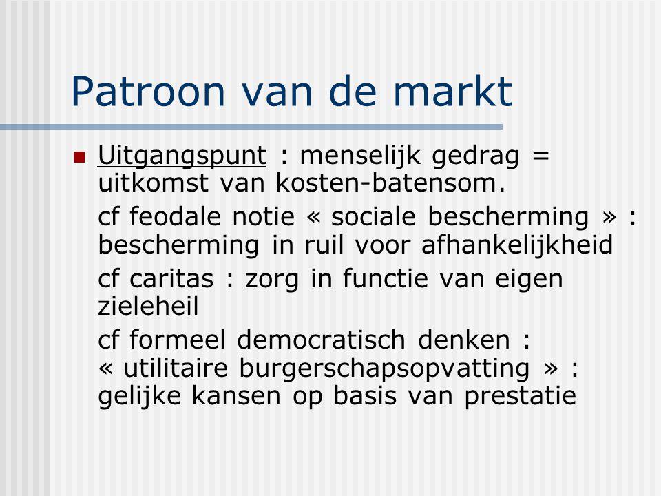 Patroon van de markt Uitgangspunt : menselijk gedrag = uitkomst van kosten-batensom. cf feodale notie « sociale bescherming » : bescherming in ruil vo