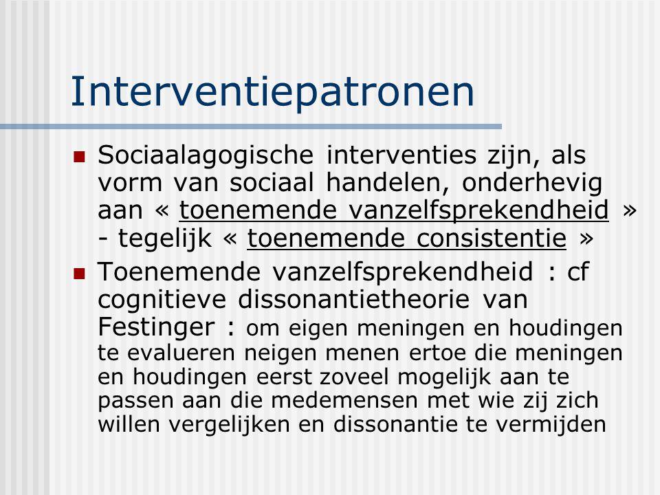 Interventiepatronen Sociaalagogische interventies zijn, als vorm van sociaal handelen, onderhevig aan « toenemende vanzelfsprekendheid » - tegelijk «