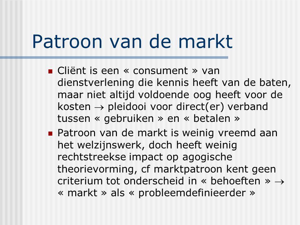 Patroon van de markt Cliënt is een « consument » van dienstverlening die kennis heeft van de baten, maar niet altijd voldoende oog heeft voor de kosten  pleidooi voor direct(er) verband tussen « gebruiken » en « betalen » Patroon van de markt is weinig vreemd aan het welzijnswerk, doch heeft weinig rechtstreekse impact op agogische theorievorming, cf marktpatroon kent geen criterium tot onderscheid in « behoeften »  « markt » als « probleemdefinieerder »