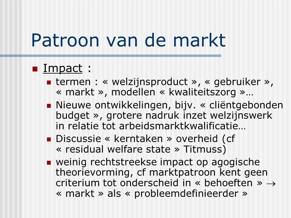 Patroon van de markt Impact : termen : « welzijnsproduct », « gebruiker », « markt », modellen « kwaliteitszorg »… Nieuwe ontwikkelingen, bijv. « clië