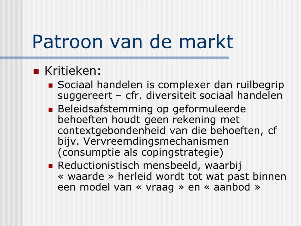 Patroon van de markt Kritieken: Sociaal handelen is complexer dan ruilbegrip suggereert – cfr.